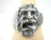 Solid Silver Sterling Orc Viking Pirate Monster Ring