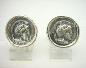 Sterling Silver Spartan Coin Replica Cufflinks