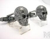 Gold Black Skull Cuff Links Cufflinks Bone Rocker Biker Rock Rockstar Jewelry