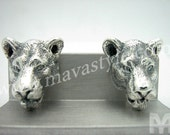 Sterling Silver Lioness Lion Tiger Cufflinks Cuff Links