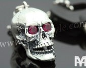 925 Sterling Silver Skull Ruby Keychain Key Chain Rock Biker Rocker