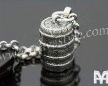 925 Sterling Silver Barrel Keychain Key Chain Pirate Beer Wine Ship Boat