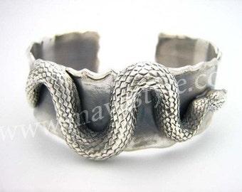 Sterling Silver Snake Bracelet Bangle Python Reptile