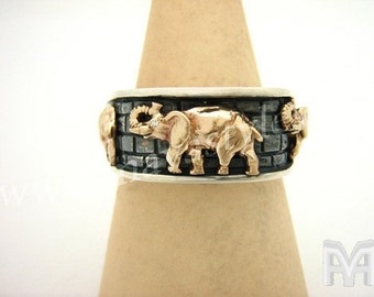 Sterling Silver Gold Elephant With Diamond Eyes Ring