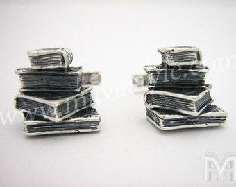 Sterling Silver Book Cufflinks