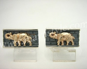Sterling Silver 10 K Gold Elephant Cufflinks Cuff Links