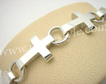 Sterling Silver Cross Christian Bracelet de Croix en Argent