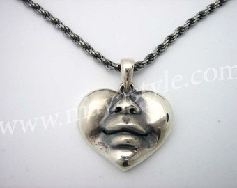 925 Sterling Silver Happy Heart Face Pendant Bird Love