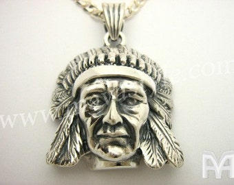 Sterling Silver Native American Indian Chief Pendant