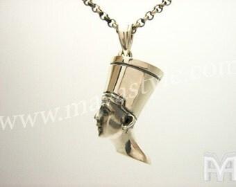 Sterling Silver Egypt Egyptian Queen Nefertiti Pendant
