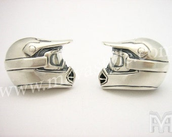 Silver Dirt Bike Motocross Helmet Cuff Links Cufflinks
