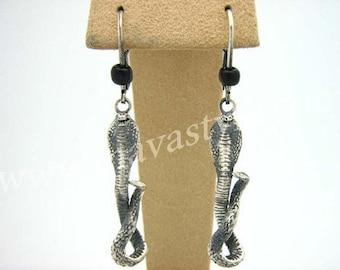 Detailed Sterling Silver Snake Cobra Earrings Serpent