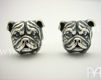 925 Sterling Silver English Bulldog Bull Dog Cuff Links Cufflinks Animal Jewelry