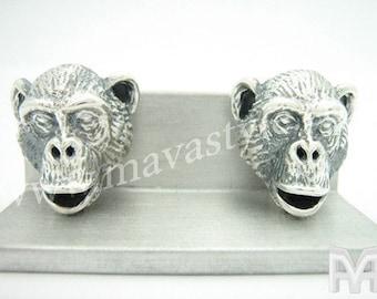 Sterling Silver Chimpanzee Monkey Cuff Links Cufflinks Chimp Ape Animal Jewelry