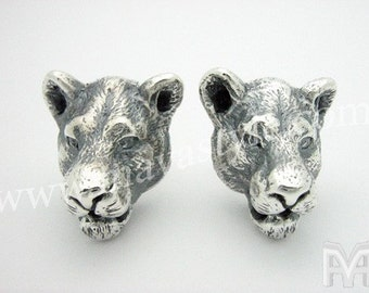 Sterling Silver & Gold Lioness Earrings