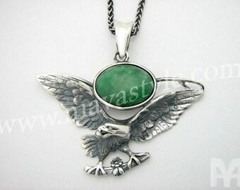 Sterling Silver Eagle Bird Pendant Jade Stone Diamond