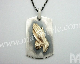 Sterling Silver Gold Praying Hands Dogtag Dog Tag Pendant