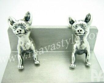 Sterling Silver Chihuahua Cufflinks