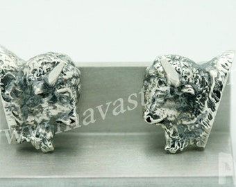 925 Sterling Silver Bison Buffalo Cufflinks Cuff Links