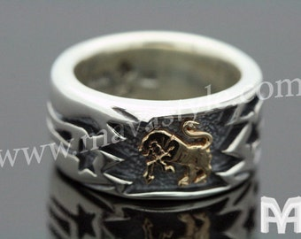 925 Sterling Silver & Gold Taurus Zodiac Sign Bull Ox Ring Bague de Taureau Horoscope
