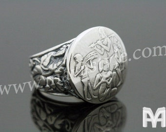 Sterling Silver Antique Family & Vine Coin Replica Ring