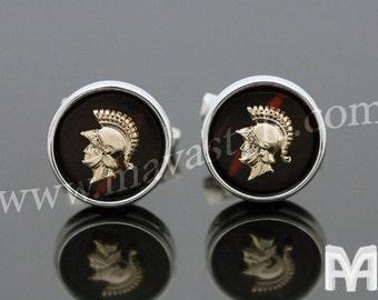 925 Sterling Silver Gold Spartan & Ebony Cufflinks Cuff Links Warrior Soldier