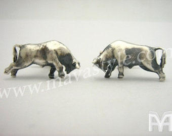 Sterling Silver Bull Cufflinks