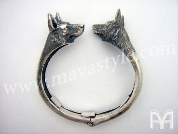 Sterling Silver German Shepherd Bangle Bracelet