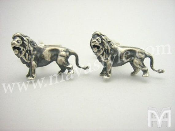 Sterling Silver Lion Leo Cuff Links Cufflinks Jewelry
