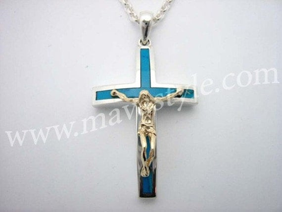 Sterling Silver Gold Turquoise Cross Jesus Christ Chain