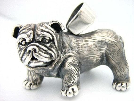 3D 925 Sterling Silver English Bull Dog Bulldog Pendant Medallion Animal Jewelry