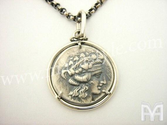 Silver Antique Coin Replica Dionysos Herakles Pendant