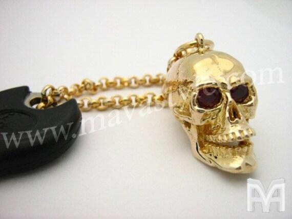 Gold Skull KeyChain Key Chain with Ruby Eyes
