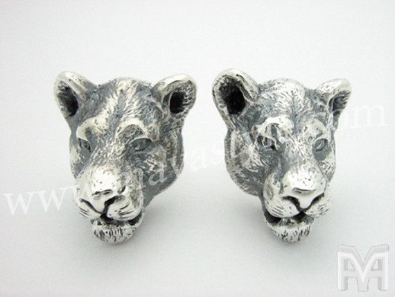 Sterling Silver and Gold Lioness Lion Tiger Panther Earrings