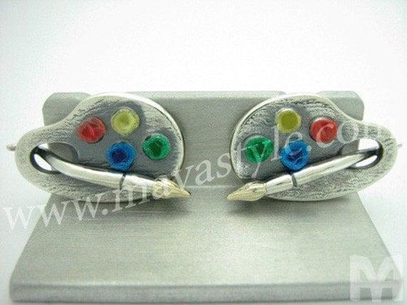 Silver Gold Paint Palette Brush Cufflinks Cuff Links