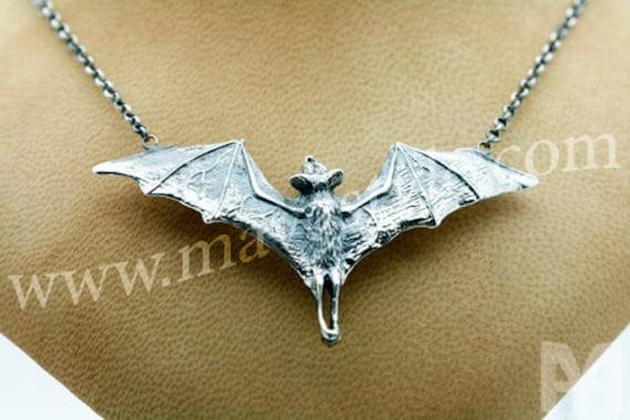 Sterling Silver Open Wings Bat Necklace