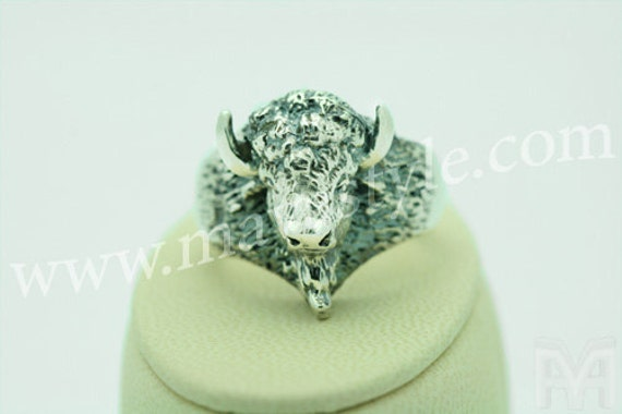 925 Sterling Silver American Buffalo Bison Animal Ring