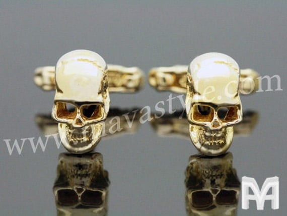Gold Skull Bone Rocker Biker Cuff Links Cufflinks Biker Rock Punk Gothic Bones