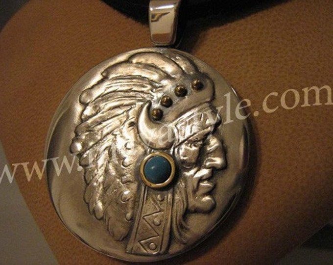 Silver and Gold Native American Indian Pendant/Turquoise