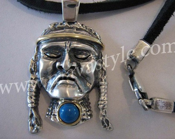 Sterling Silver 14K Gold Native American Indian Pendant
