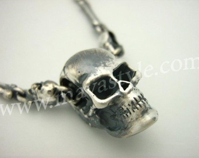 Solid Sterling Silver Skull Bone Biker Pendant Necklace