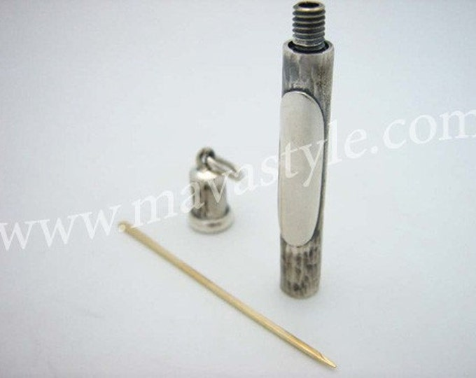 Sterling Silver Tube Holder Pendant 18K Gold Toothpick