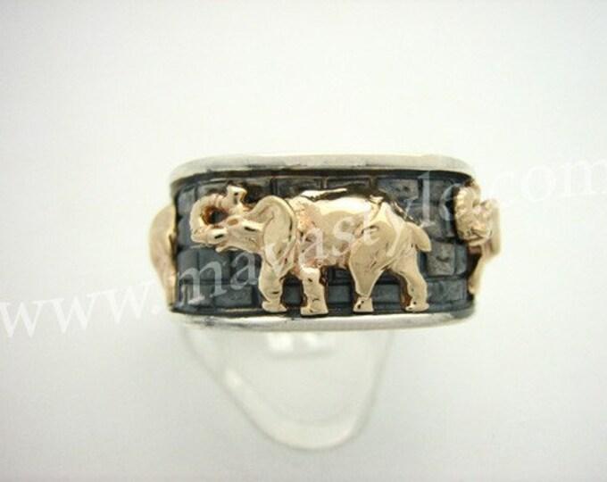 Sterling Silver 10 K Gold Elephant Ring Bague Or Argent