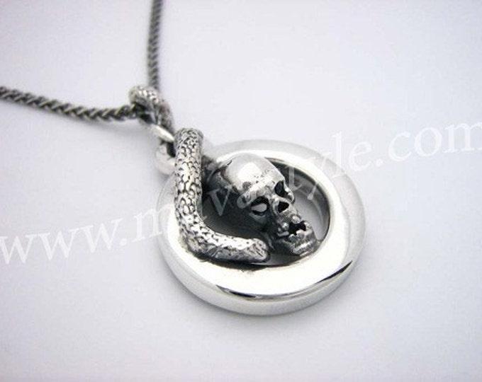 925 Sterling Silver Skull Snake Python Pendant Serpent
