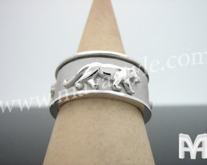 White Gold Spinner Spinning Panther Ring