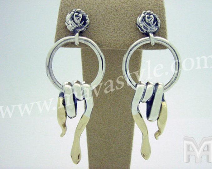 Sterling Silver & Gold Snake Rose Earrings