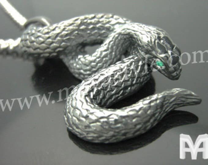 Sterling Silver Black Snake with Emerald Eyes Pendant