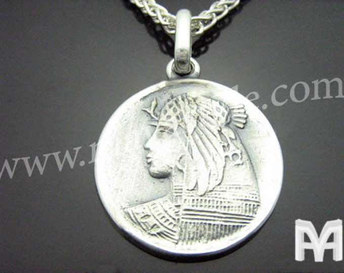 Sterling Silver Ancient Antique Coin Replica Cleopatra Pendant