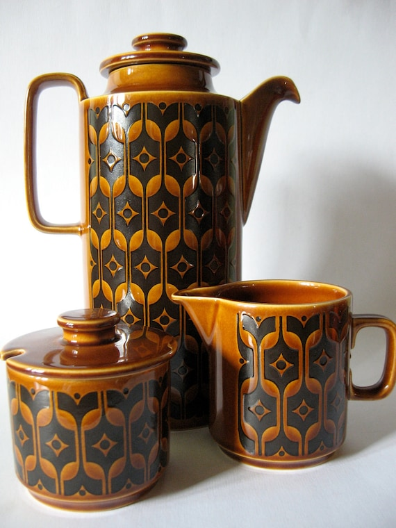 ON SALE-1976 Hornsea teapot milk and sugar coffee service set of three mid century danish modern