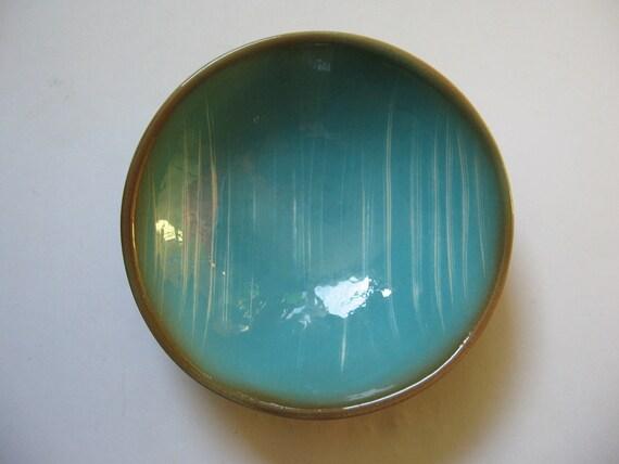 Appealing atomic ceramic aqua brown bowl dish  eames era California